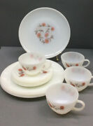 Vintage Fire King Ware Oven 12 Pc Federal Milk Glass 4 Cups And Saucers 4 Plates