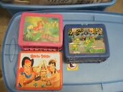 Collectible Lunch Boxes With Thermos And Ninja Turtles-lot Of Three