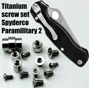 Titanium Hardware Replacement Set For Spyderco Para2 Silver Color