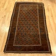 Antique Rug 3and039 4 X 5and039 10 Brown Tribal Oriental Rug