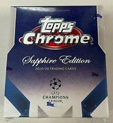 2019-2020 Topps Chrome Uefa Champions League Sapphire Sealed Hobby Box In Hand