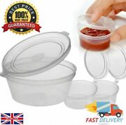 Clear Hinged Lid Plastic Single Use Sauce Containers Cups Pot Tub Deli Takeaway