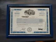 Trump Hotels And Casino Resorts Inc. 2002 Stock Certificate Framed Double Glass