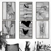 Abstract Posters Black White Canvas Wall Art Sketch Line Draw Waves Painting