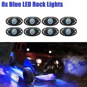 8x Blue Led Rock Lights For Jeep Off Road Truck Underbody Wheel Trail Rig Lamps