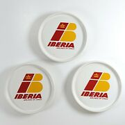 Lot Of 3 Vintage Round Ceramic Iberia Airlines Of Spain Drink Coasters