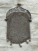 Antique Sterling Silver Chatelaine Coin Purse - By Alexandre Vaguer, Signed