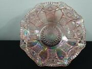 Vintage L E Smith Iridescent Pink Carnival Glass Bowl Serving Fruits Flowers