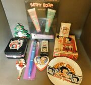 Lot Of 10 Betty Boop Collectibles Bank Wallet Plate Tins Watch Pen