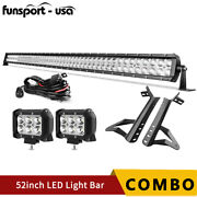 Fits 07-18 Jeep Wrangler Jk 52inch Led Light Bar 700w Combo +2x 4and039and039 Pods Offraod