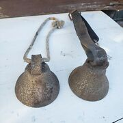 Antique Old Primitive Rustic Cow Goat Horse Sheep Bell Leather Strap Farm Bells