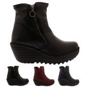 Womens Fly London Yolk Mousse Leather Work Winter Wedge Heel Ankle Boots Uk 3-10