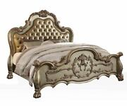 Traditional Antique Gold Finish Queen Size Bed Button Tufted Headboard Furniture