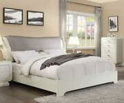 Queen Size Bed Ivory High Gloss Padded Headboard Bed Master Bedroom Furniture