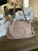 Blush Pebbled Patent Leather Soho Two Way Chains Tote Bag