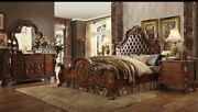 Button Tufted Arched Leatherette Headboard Cherry Oak Finish Queen Size 1pc Bed