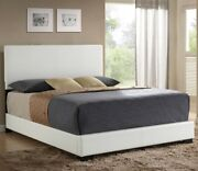 Contemporary W/sleek Straight Lines White Full Size 1piece Bed Wooden Block Leg