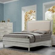 Contemporary Look 1pc Bedroom Rustic Antique White Fabric Eastern King Size Bed