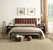 Retro Brown Metal Frame Top Grain Leather Queen Size Bed Furniture Button Tufted