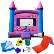 Pink Inflatable Bounce House With Blower Vinyl Jump Castle Landing Mat And Tarp