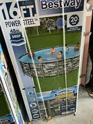 Bestway Power Steel 16ft X 48 Above Ground Pool W/ Filter Pump Ladder And Cover