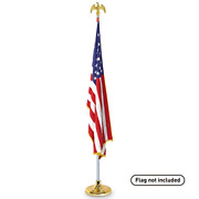 Easygoproducts Telescoping Indoor Flag Pole Kit With Base Stand And Gold Eagle Andndash