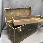 Antique Tool Box Chest Wood Metal Vintage 21andrdquox11.5andrdquox7andrdquo Veterinarian Case W/tray
