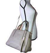 Kate Spade Dominique Pebbled Leather Satchel Bag Taupe Grey Street Purse