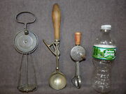 3 Antique Kitchen Utensils - 2 Beaters And A Gilchrist's 31 Ice Cream Scoop