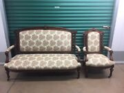 Antique Carved Walnut Settee And Parlor Chair Set