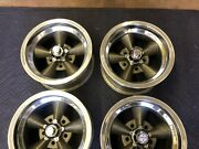 Vintage Set Of 4 5 Spoke Real Torque Thrust Polished Lip 14x7 4 3/4 Chevy