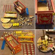 Vintage Fisher Price Wood Circus Train Toy With 24 Accessories Free Shipping