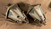 Pair Vintage Arts And Crafts Mission Spanish Hammered Hanging Porch Light Fixture