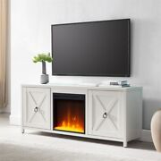 Hennandhart White Tv Stand With Crystal Fireplace Insert