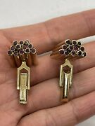 Vintage Retro Pat 14k Yellow Gold Hand Crafted Ruby 3d Bars Sculptural Cufflinks