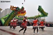 Green Gold Plated 18m 10 Adults Lion Dance Costume Traditioanl