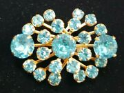 Vintage Estate Crystal Spray Scatter Pin Brooch Brilliant Turquoise Crystals