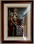 Ww1 Vintage American War Poster - Books Wanted Beautifully Framed - Original