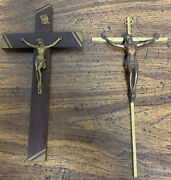 2 Inriandnbspjesus On Cross Crucifix Brass And Wood Christianity Wall Decor Lot Of 2