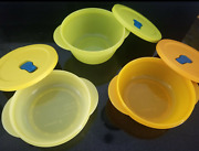 Tupperware Crystalwave Plus Microwave Bowls And Seals Set Green Orange Yellow New