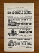 Antique Ad 1879 Nathan Budd And Co New And Second Hand Furniture Detroit, Mi