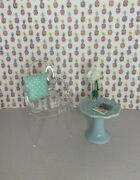 Pair Of Aqua End Tables Or Night Stands For Barbie Or Similar Fashion Doll New