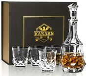 Crafted Whiskey Decanter Set With 4 Crystal Glasses In Gift Box - Lead Free