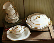 Antique 1930and039s Wood And Sons Ltd White And Gold Dessert Tea Set Chafing Tureen Dish