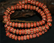 Real Old Antique African Trade Glass Beads Chevron Necklace Red Venetian Tibet