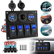 4 Gang Toggle Rocker Switch Panel Dual Usb Blue Led For Car Boat Marine Rv Truck