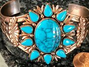 Vintage Copper Jewelry Large Cuff Bracelet Faux Turquoise Stone Gorgeous