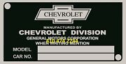 Chevrolet Oem Data Plate Serial Number Id Tag With Your Vin Stamped