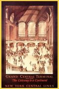 New York Grand Central Terminal Gateway Usa Travel Vintage Poster Repro Free S/h