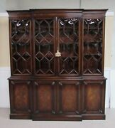 Maslow Freen Flame Mahogany Breakfront Lighted China Cabinet Bubble Glass